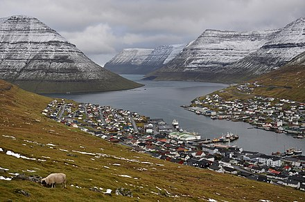 Klaksvik, on the island of Bordoy, is the Faroe Islands' second-largest town. Faroe Islands, Bordoy, Klaksvik (3).jpg