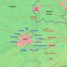 Carte de la ceinture fortifiée de Liège. En bleu, le dispositif de 1914, en rouge celui de 1940