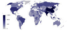 A map of world population in 2014.