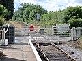 Finghall Lane railway station & crossing, view west to Leyburn, Wensleydale Railway, Yorkshire.jpg