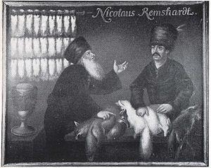 Siberian fur trade - Siberian fur trader at the fair in Leipzig, Germany (c. 1800)