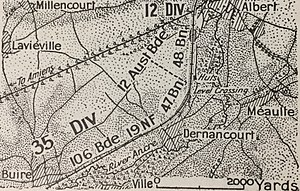 First Battle of Dernancourt - Image: First Battle of Dernancourt (Bean p. 193)