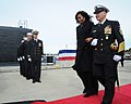 First Lady Michelle Obama, ships sponsor of USS Illinois (SSN 786), arrives at the commissioning ceremony on Naval Submarine Base New London (30013824153).jpg