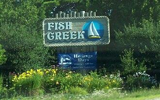 Fish Creek, Wisconsin - Image: Fish Creek Wisconsin Sign WIS42