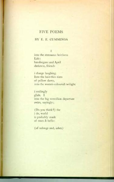 the history and poetry of edward estlin cummings E e cummings edward estlin cummings (october 14, 1894-september 3, 1962) was one of america's leading 20th century poets a prolific poet and painter, cummings (in his poetry he often ignored the rules of capitalization and has sometimes been referred to as e e cummings) expanded the boundaries of poetry through typographic and.