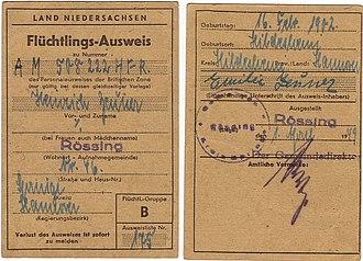 Refugee identity certificate - Image: Flüchtlingsausweis B