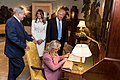 Flanked by President Donald Trump, First Lady Melania Trump, and Israeli Prime Minister Benjamin Netanyahu, Mrs. Sara Netanyahu, signs the guest book in the Diplomatic Reception room of the White House.jpg