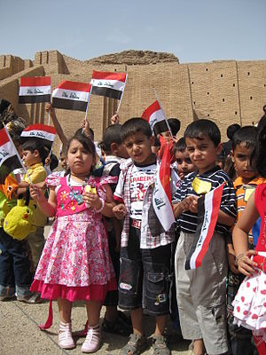 Nasiriyah - Flickr - Kindergarten students from Mumsuna school in Nasiriyah attend the opening of Ziggurat of Ur in 2009 (it had been closed following the U.S. invasion in 2003)