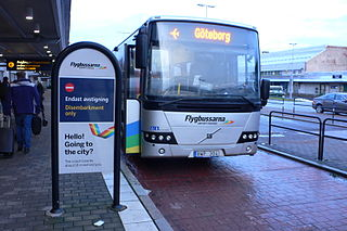 Flygbussarna Bus company of Sweden driving between Swedish towns and airports