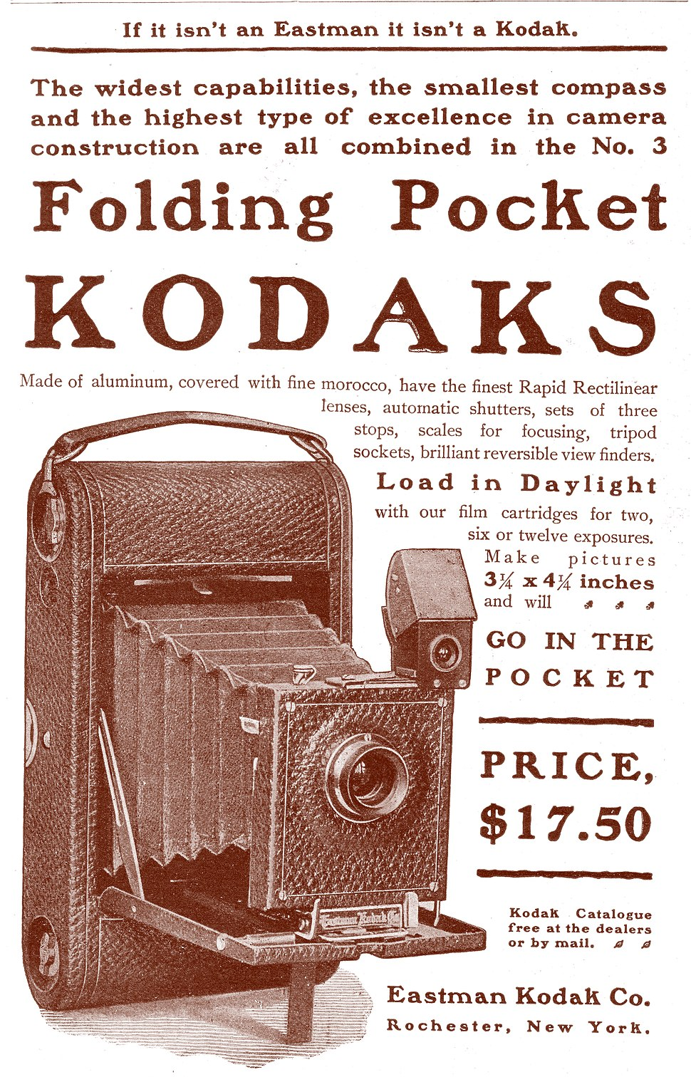 Folding Pocket Kodak Camera ad 1900