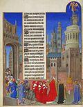Según el texto, la procesión sale por una puerta, detrás de la caza y el Papa