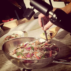 Food photography - A dish being styled for photography