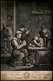 Four Flemish men smoke and drink in a dingy smoke den, a man Wellcome V0019043.jpg
