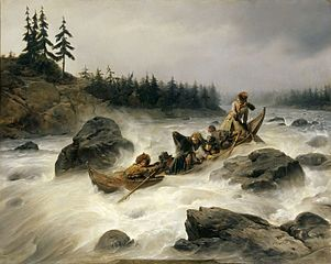 The Duke of Orleans riding dawn the great rapid of Eijanpaikka at the Muonio River (Lapland), August 1795