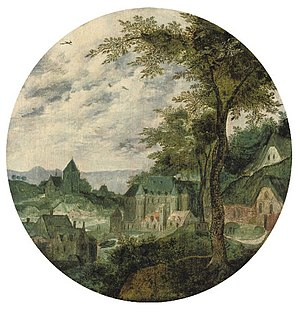 Frans Mostaert - A river landscape with a town, a palace and a church