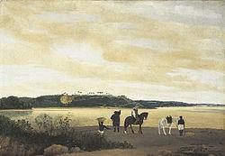 Vista de Itamaracá, pintado em 1637, é considerada a pintura feita por um pintor profissional mais antiga das Américas - Frans Post
