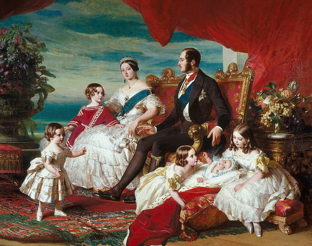 Victoria's family in 1846 by Franz Xaver Winterhalter. Left to right: Prince Alfred and the Prince of Wales; the Queen and Prince Albert; Princesses Alice, Helena and Victoria. Franz Xaver Winterhalter Family of Queen Victoria.jpg