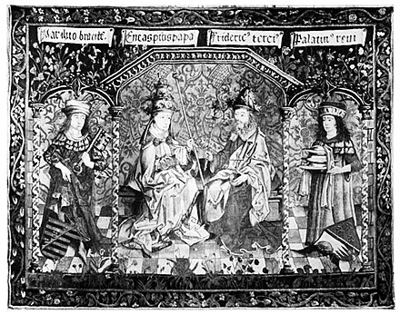 A tapestry depicting the coronation of Frederick III, which misattributes the Pope in attendance as Pope Pius II. Frederick III Coronation Tapestry.jpg