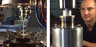 Friction extrusion - Figure 3. The friction extrusion process is highly scalable. The extrusion on the left has a 7.5mm diameter, the one on the right has a 50 mm diameter.  These extrusions were performed on a TTI friction sir welding machine.