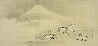 Frolicking Horses under Mt. Fuji