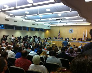 Local government in the United States - A city council meeting in Fullerton, California