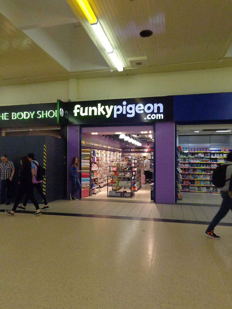 Funky Pigeon.com shop, Leeds railway station (19th July 2014).JPG