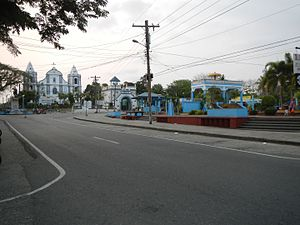 Luna, La Union - Luna town center overlooking the Santa Catalina de Alejandria Church