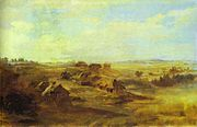 Fyodor Vasilyev Landscape with peasants huts and pond near St Petersburg.jpg