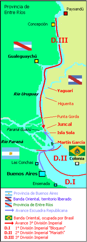 Battle of Juncal - Map of the Uruguay River and dispositions of naval forces