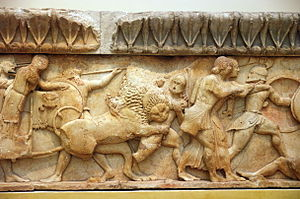 Giants (Greek mythology) - Siphnian Treasury at Delphi, North frieze (c. 525 BC). Detail showing gods facing right and Giants facing left.