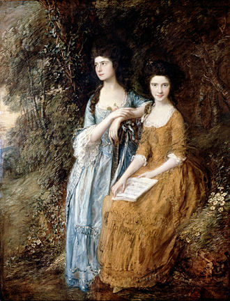 """Elizabeth Ann Linley - """"The Linley Sisters"""", by Thomas Gainsborough (Dulwich Picture Gallery) – Elizabeth (left, standing, aged 17) with her sister Mary"""