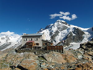 Gandegg Hut - The Gandegg Hut with the Breithorn in background