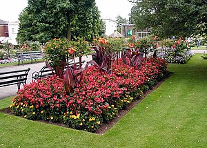 A flower bed in the gardens of Bristol Zoo, Br...