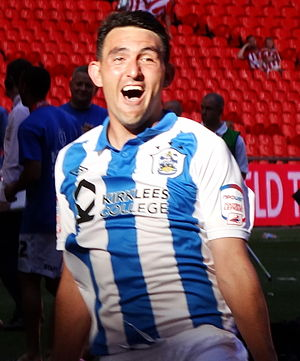 Gary Roberts (footballer, born 1984) - Roberts celebrates winning the play-off final with Huddersfield in 2012