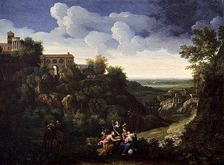 View of Tivoli with the Flight into Egypt