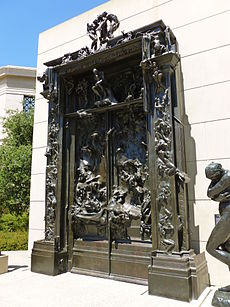 Gates of Hell sculpture by Rodin; angled view from right.JPG