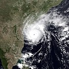 Cyclone at landfall in India
