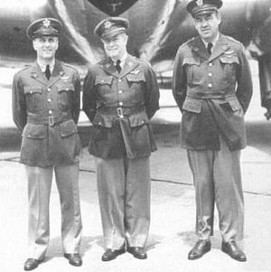 Caleb V. Haynes - Majors Harold L. George, Vincent L. Meloy and Caleb V. Haynes as goodwill pilots to Bogotá, Colombia