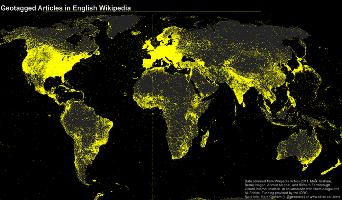 A map of geotagged articles on the English Wikipedia
