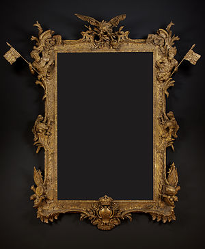 Frederick, Prince of Wales - A Royal Giltwood Frame of Colossal Scale by Paul Petit made at the command of Frederick, Prince of Wales to contain a portrait of Frederick the Great by Antoine Pesne (1683–1757). Collection of Carlton Hobbs LLC.