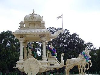 Krishna in the Mahabharata - Krishna giving 'Updesha' to Arjuna on the battlegrounds of Kurukshetra.