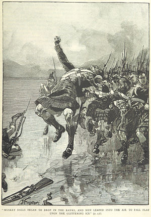 Battle of Ogdensburg - The Glengarrys charge across the Saint Lawrence (Illustration from a British book). Note the highlander uniform is inaccurate.