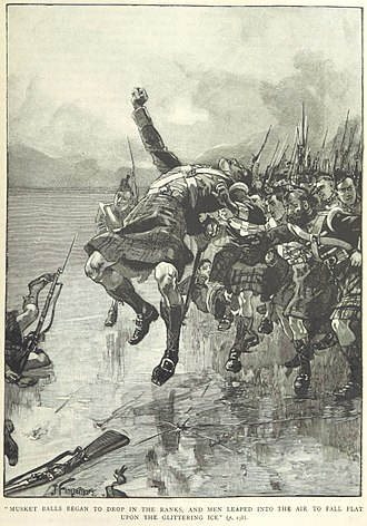 Battle of Ogdensburg - The Glengarry Light Infantry attacks across the frozen river during the Battle of Ogdensburg.