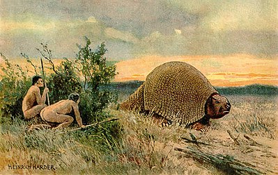 Illustration of Paleo-Indians hunting a glyptodont Glyptodon old drawing.jpg