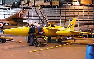 Folland Aircraft - A privately owned Folland Gnat previously used by the RAF Red Arrows display team. It has been painted as an aircraft of the earlier Yellowjacks display team, a forerunner of the Red Arrows.