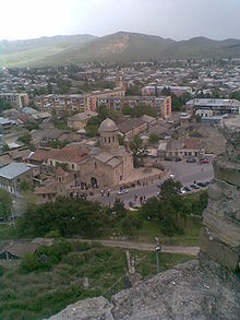 Gori cathedral (view from the Gori Fortress).jpg