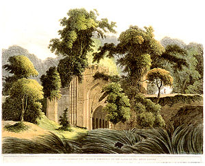 Gauḍa (region) - Early 19th century lithograph of the Muslim ruins of Dakhil Darwaza at Gaur, West Bengal.