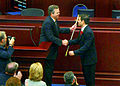Gov. Jeb Bush presents a sword to Marco Rubio upon the latter's selection as Speaker.jpg