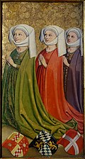 Graf Ulrich V. der Vielgeliebte von Wurttemberg and his three wives (wives), from the Stuttgarter Stiftskirche, Stuttgart, c. 1470-1480 - Landesmuseum Württemberg - Stuttgart, Germany - DSC03144.jpg