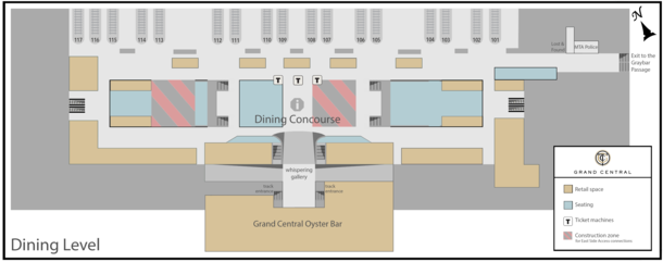 A diagram of the terminal's dining level rooms